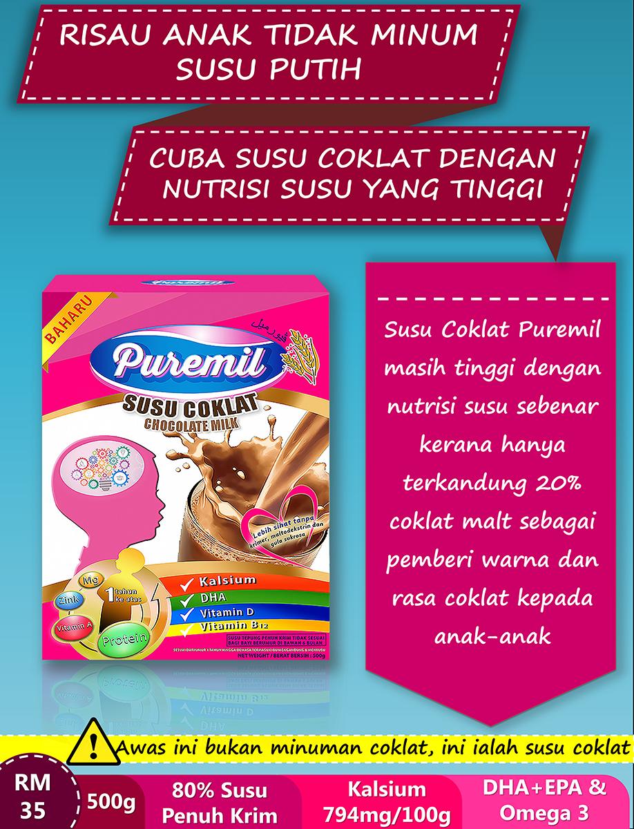 Kenapa #susuPuremil Coklat hanya menggunakan 20% bahan coklat malt?